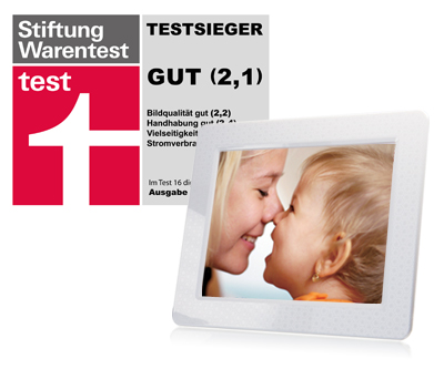 transcend 39 s pf830w digital photo frame is awarded test winner in germany 39 s stiftung warentest. Black Bedroom Furniture Sets. Home Design Ideas